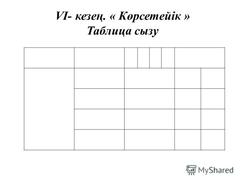VI- кезең. « Көрсетейік » Таблица сызу