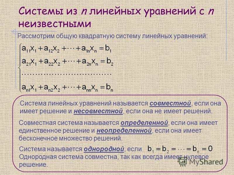 Системы из n линейных уравнений с n неизвестными Рассмотрим общую квадратную систему линейных уравнений: Система линейных уравнений называется совместной, если она имеет решение и несовместной, если она не имеет решений. Совместная система называется