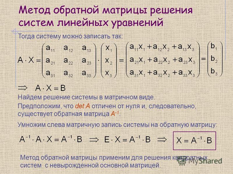 Метод обратной матрицы решения систем линейных уравнений Тогда систему можно записать так: Найдем решение системы в матричном виде. Предположим, что det A отличен от нуля и, следовательно, существует обратная матрица А -1. Умножим слева матричную зап