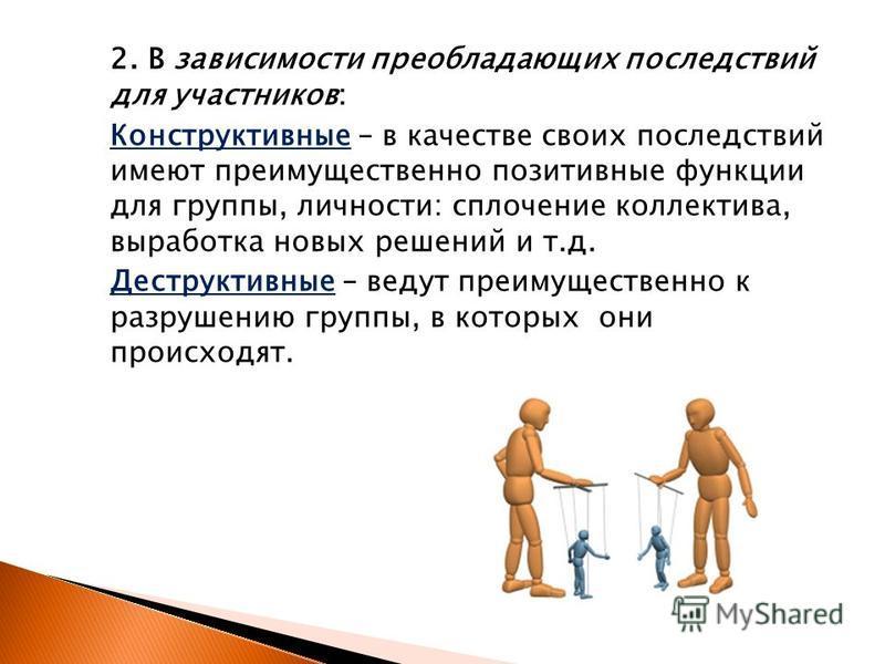 2. В зависимости преобладающих последствий для участников: Конструктивные – в качестве своих последствий имеют преимущественно позитивные функции для группы, личности: сплочение коллектива, выработка новых решений и т.д. Деструктивные – ведут преимущ