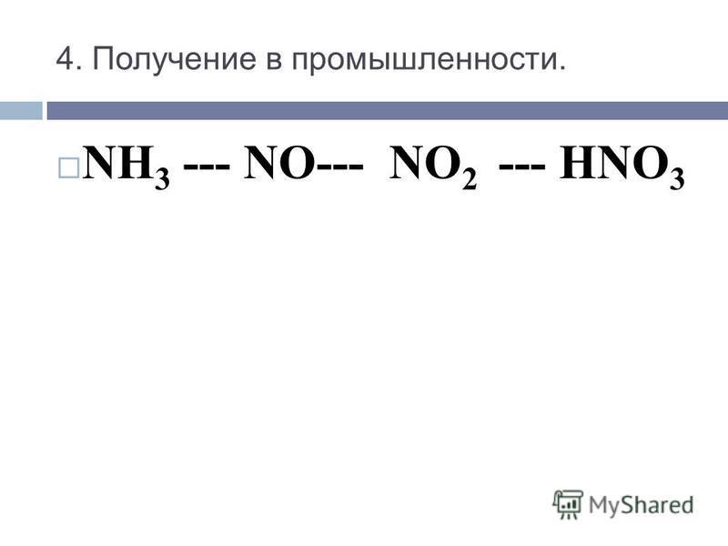 NH 3 --- NO--- NO 2 --- HNO 3 4. Получение в промышленности.