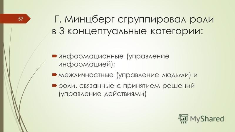 Г. Минцберг сгруппировал роли в 3 концептуальные категории: информационные (управление информацией); межличностные (управление людьми) и роли, связанные с принятием решений (управление действиями) 57