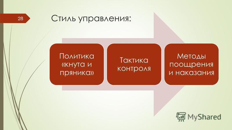 Политика «кнута и пряника» Тактика контроля Методы поощрения и наказания Стиль управления: 28