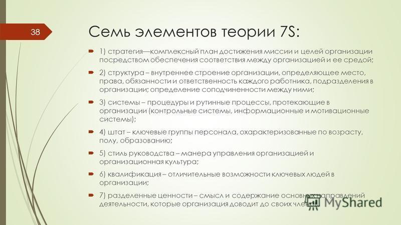 Семь элементов теории 7S: 1) стратегиякомплексный план достижения миссии и целей организации посредством обеспечения соответствия между организацией и ее средой; 2) структура – внутреннее строение организации, определяющее место, права, обязанности и