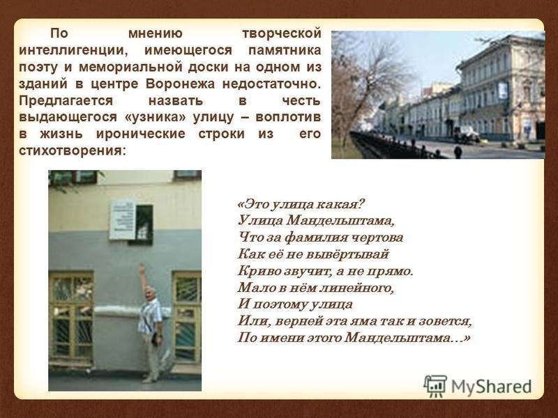 По мнению творческой интеллигенции, имеющегося памятника поэту и мемориальной доски на одном из зданий в центре Воронежа недостаточно. Предлагается назвать в честь выдающегося «узника» улицу – воплотив в жизнь иронические строки из его стихотворения: