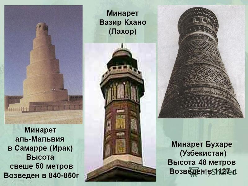 Минарет аль-Мальвия в Самарре (Ирак) Высота свеше 50 метров Возведен в 840-850 г Минарет Бухаре (Узбекистан) Высота 48 метров Возведен в 1127 г. Минарет Вазир Кхано (Лахор)