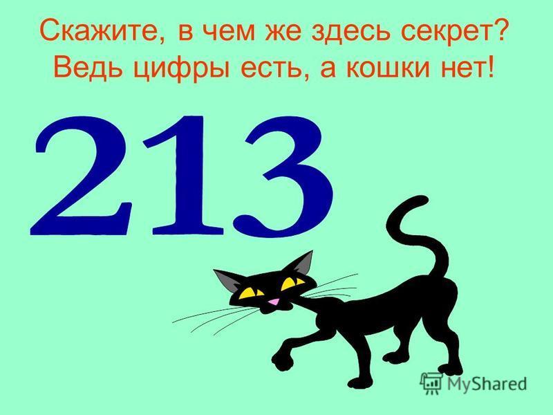 Скажите, в чем же здесь секрет? Ведь цифры есть, а кошки нет!
