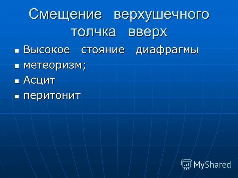 Смещение верхушечного толчка вверх Высокое стояние диафрагмы Высокое стояние диафрагмы метеоризм; метеоризм; Асцит Асцит перитонит перитонит