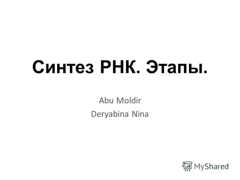 Синтез РНК. Этапы. Abu Moldir Deryabina Nina