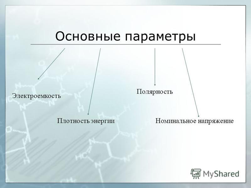 Основные параметры Плотность энергии Номинальное напряжение Полярность Электроемкость