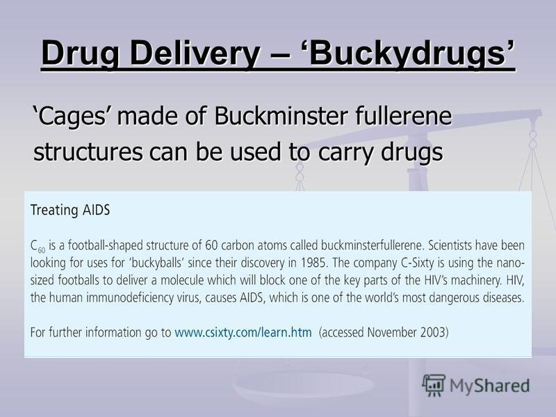 Drug Delivery – Buckydrugs Cages made of Buckminster fullerene structures can be used to carry drugs
