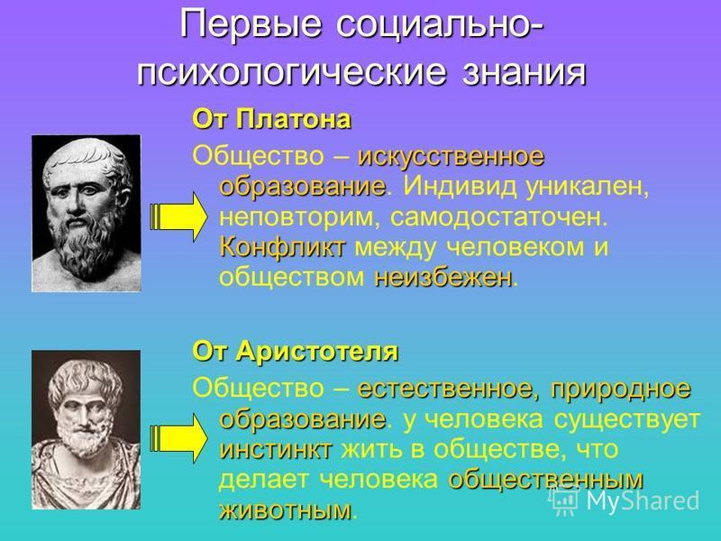 Первые социально- психологические знания От Платона искусственное образование Конфликт неизбежен Общество – искусственное образование. Индивид уникален, неповторим, самодостаточен. Конфликт между человеком и обществом неизбежен. От Аристотеля естеств
