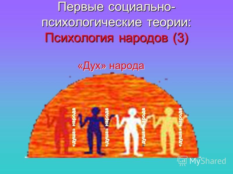 Первые социально- психологические теории: Психология народов (3) «Дух» народа «душа» народа