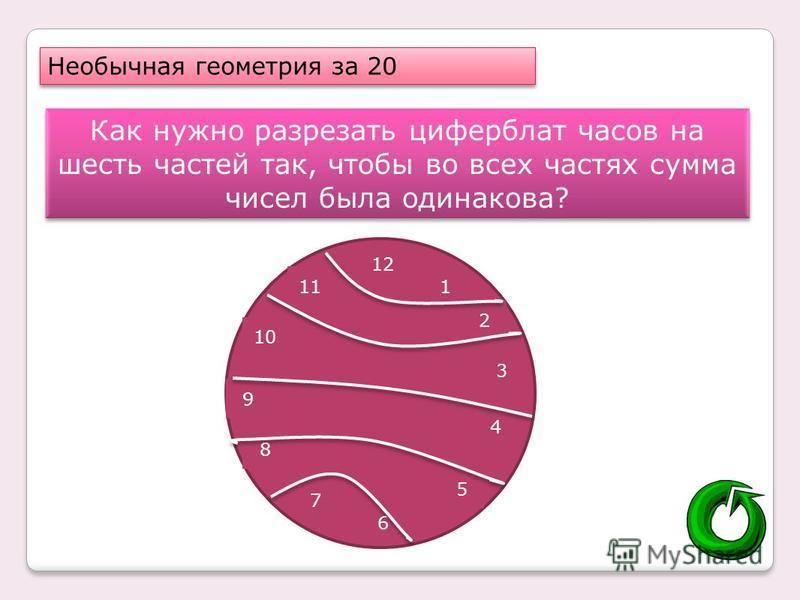 Необычная геометрия за 20 Как нужно разрезать циферблат часов на шесть частей так, чтобы во всех частях сумма чисел была одинакова? 12 1 2 3 4 5 6 7 8 9 10 11