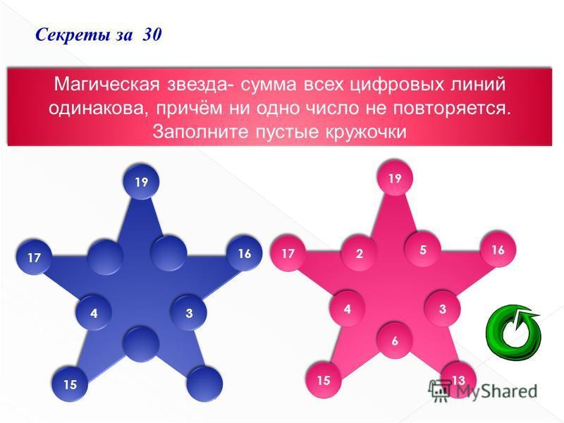 Секреты за 30 Магическая звезда- сумма всех цифровых линий одинакова, причём ни одно число не повторяется. Заполните пустые кружочки Магическая звезда- сумма всех цифровых линий одинакова, причём ни одно число не повторяется. Заполните пустые кружочк
