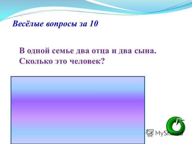 Весёлые вопросы за 10 В одной семье два отца и два сына. Сколько это человек?