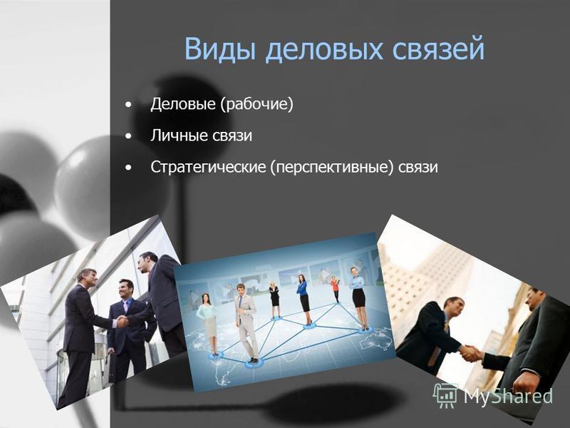 Виды деловых связей Деловые (рабочие) Личные связи Стратегические (перспективные) связи