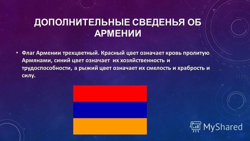 ДОПОЛНИТЕЛЬНЫЕ СВЕДЕНЬЯ ОБ АРМЕНИИ Флаг Армении трехцветный. Красный цвет означает кровь пролитую Армянами, синий цвет означает их хозяйственность и трудоспособности, а рыжий цвет означает их смелость и храбрость и силу.