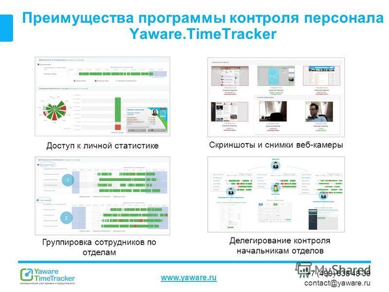 +7 (499) 638 48 39 contact@yaware.ru www.yaware.ru Преимущества программы контроля персонала Yaware.TimeTracker Группировка сотрудников по отделам Доступ к личной статистике Делегирование контроля начальникам отделов Скриншоты и снимки веб-камеры