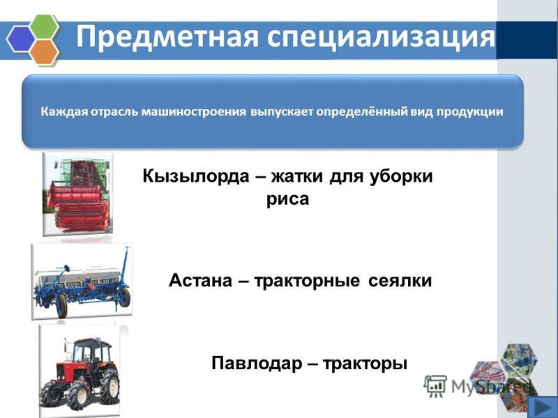Предметная специализация Каждая отрасль машиностроения выпускает определённый вид продукции Кызылорда – жатки для уборки риса Астана – тракторные сеялки Павлодар – тракторы