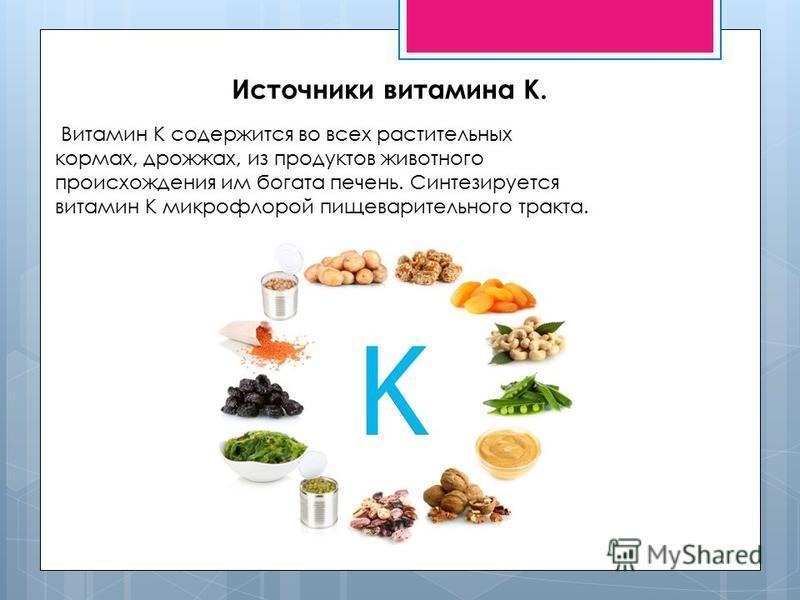 Источники витамина К. Витамин К содержится во всех растительных кормах, дрожжах, из продуктов животного происхождения им богата печень. Синтезируется витамин К микрофлорой пищеварительного тракта.
