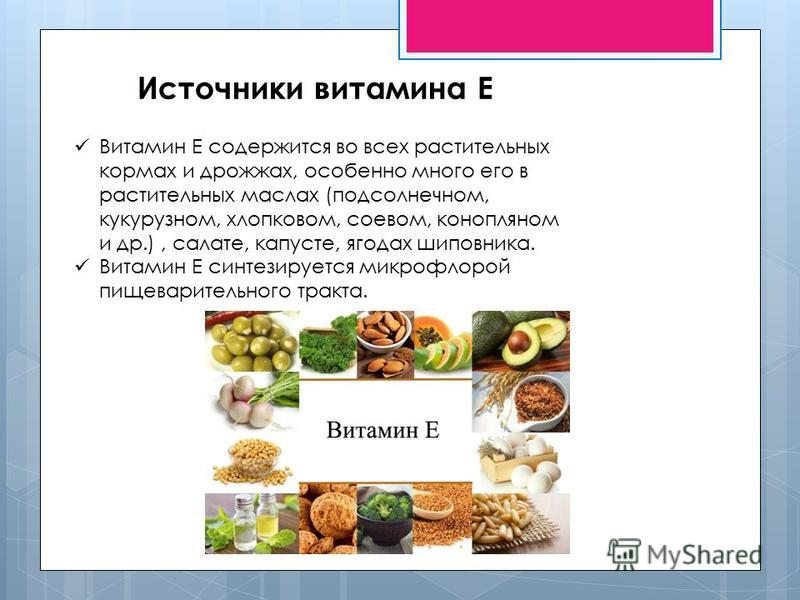 Источники витамина Е Витамин Е содержится во всех растительных кормах и дрожжах, особенно много его в растительных маслах (подсолнечном, кукурузном, хлопковом, соевом, конопляном и др.), салате, капусте, ягодах шиповника. Витамин Е синтезируется микр
