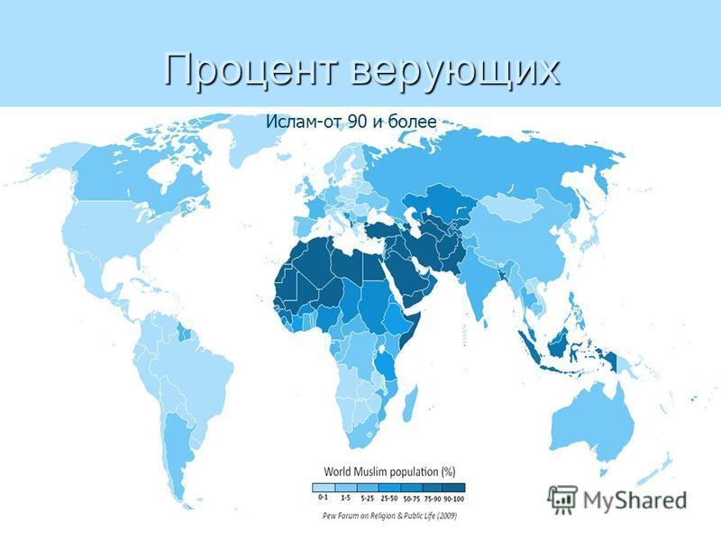 Процент верующих Ислам-от 90 и более