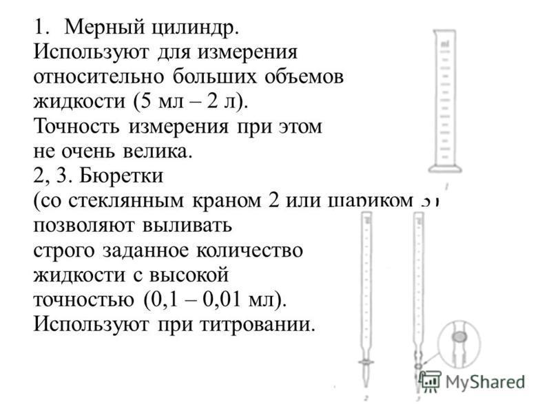 1. Мерный цилиндр. Используют для измерения относительно больших объемов жидкости (5 мл – 2 л). Точность измерения при этом не очень велика. 2, 3. Бюретки (со стеклянным краном 2 или шариком 3) позволяют выливать строго заданное количество жидкости с