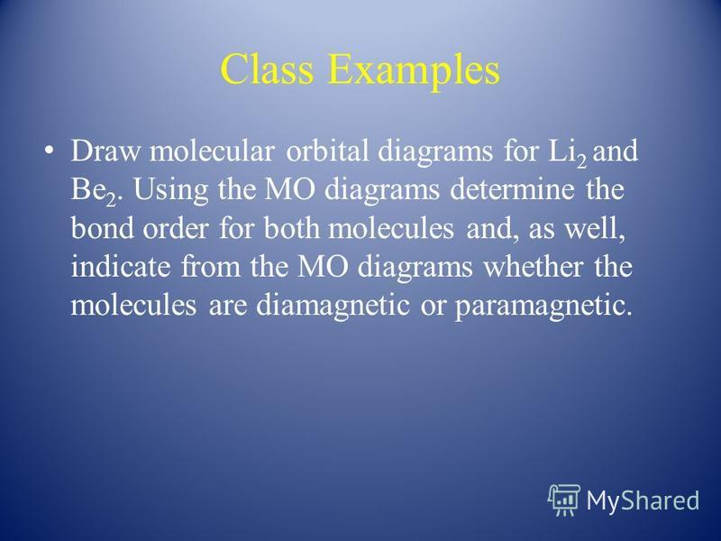 Class Examples Draw molecular orbital diagrams for Li 2 and Be 2. Using the MO diagrams determine the bond order for both molecules and, as well, indicate from the MO diagrams whether the molecules are diamagnetic or paramagnetic.