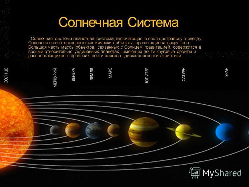 Солнечная Система. Солнечная система планетная система, включающая в себя центральную звезду Солнце и все естественные космические объекты, вращающиеся вокруг неё. Большая часть массы объектов, связанных с Солнцем гравитацией, содержится в восьми отн