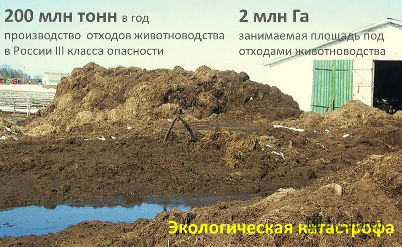 Обработка земли АКТУАЛЬНОСТЬ 200 млн тонн в год производство отходов животноводства в России III класса опасности 2 млн Га занимаемая площадь под отходами животноводства Экологическая катастрофа