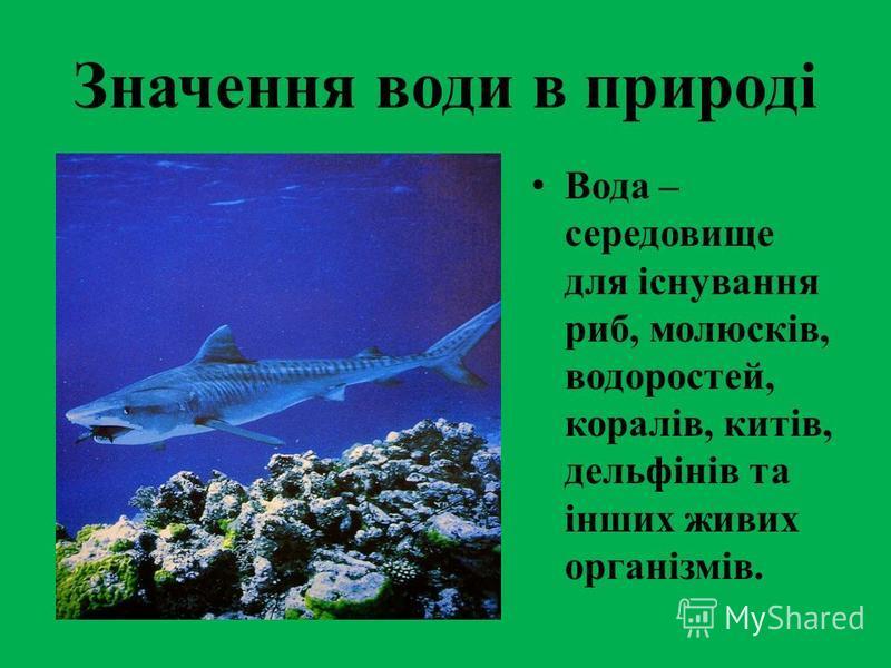 Значення води в природі Вода – середовище для існування риб, молюсків, водоростей, коралів, китів, дельфінів та інших живих організмів.