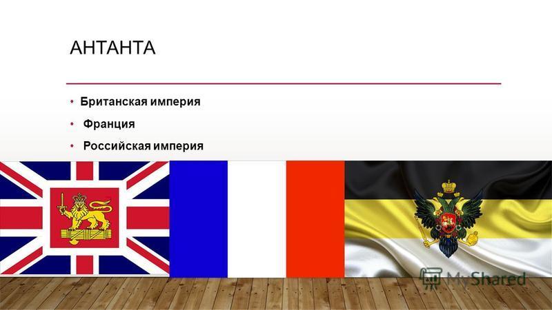 АНТАНТА Британская империя Франция Российская империя