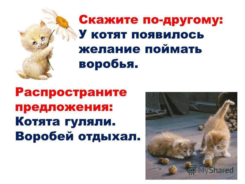Скажите по-другому: У котят появилось желание поймать воробья. Распространите предложения: Котята гуляли. Воробей отдыхал.
