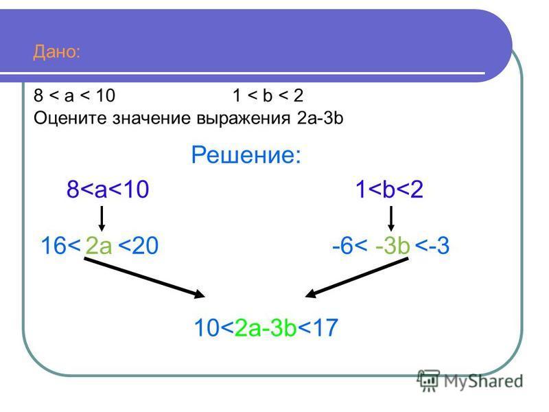 Дано: 8 < a < 10 1 < b < 2 Оцените значение выражения 2 а-3b Решение: 2 а 2 а 8<а<10 <2016< 1<b<2 <-3-3b-6< 10<2 а-3b<17