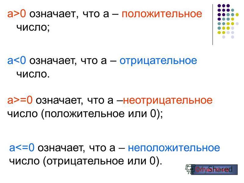 а>0 означает, что а – положительное число; а>=0 означает, что а –неотрицательное число (положительное или 0); а<0 означает, что а – отрицательное число. а<=0 означает, что а – неположительное число (отрицательное или 0). Оглавление