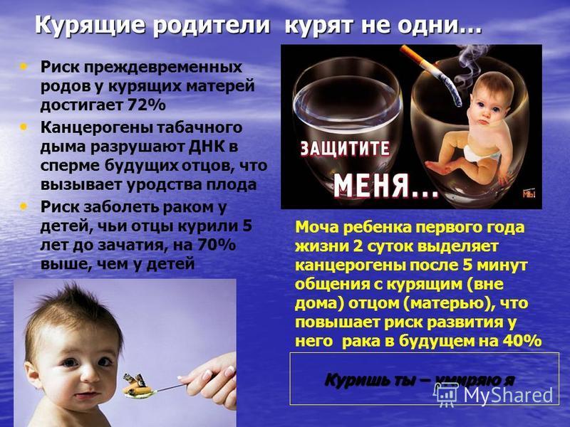 Курящие родители курят не одни… Риск преждевременных родов у курящих матерей достигает 72% Канцерогены табачного дыма разрушают ДНК в сперме будущих отцов, что вызывает уродства плода Риск заболеть раком у детей, чьи отцы курили 5 лет до зачатия, на