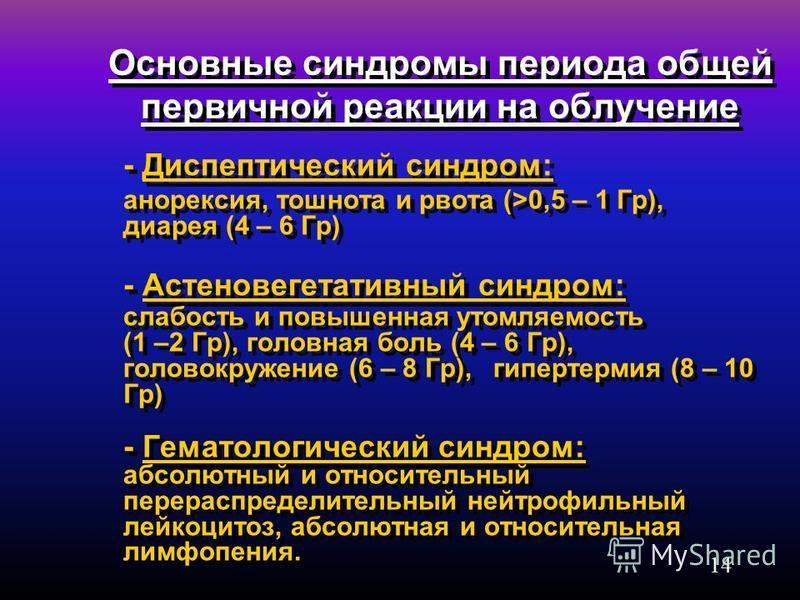 14 Основные синдромы периода общей первичной реакции на облучение - Диспептический синдром: анорексия, тошнота и рвота (>0,5 – 1 Гр), диарея (4 – 6 Гр) - Астеновегетативный синдром: слабость и повышенная утомляемость (1 –2 Гр), головная боль (4 – 6 Г