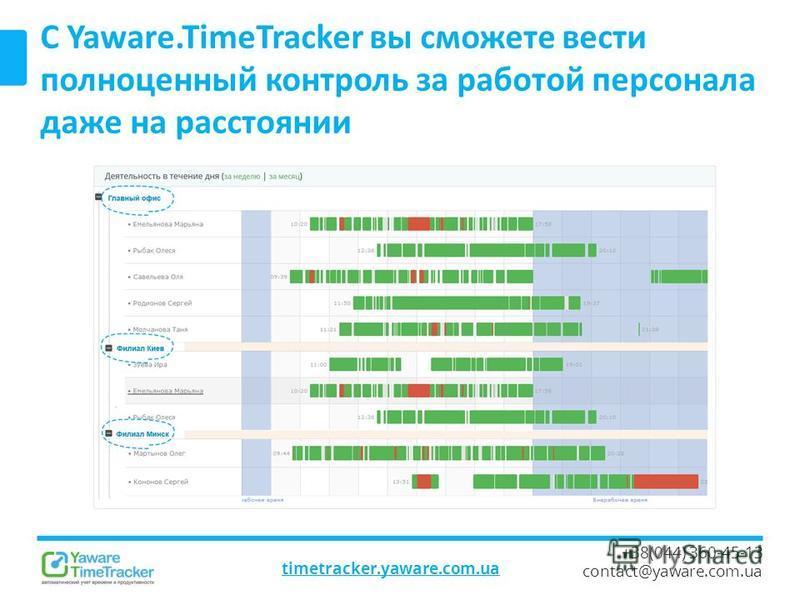 timetracker.yaware.com.ua +38(044) 360-45-13 contact@yaware.com.ua С Yaware.TimeTracker вы сможете вести полноценный контроль за работой персонала даже на расстоянии
