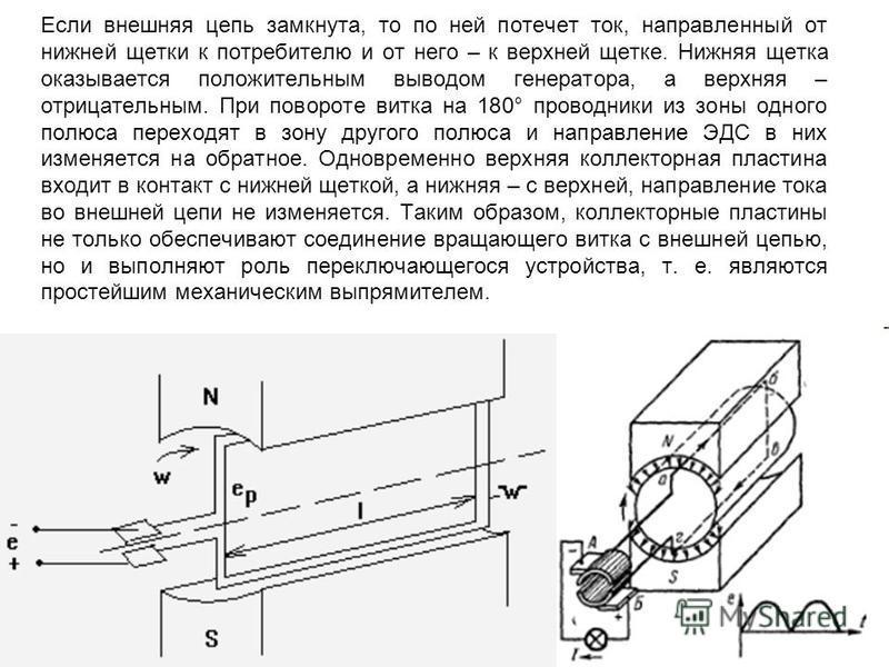 Если внешняя цепь замкнута, то по ней потечет ток, направленный от нижней щетки к потребителю и от него – к верхней щетке. Нижняя щетка оказывается положительным выводом генератора, а верхняя – отрицательным. При повороте витка на 180° проводники из