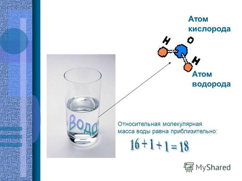 Атом водорода Атом кислорода Относительная молекулярная масса воды равна приблизительно: