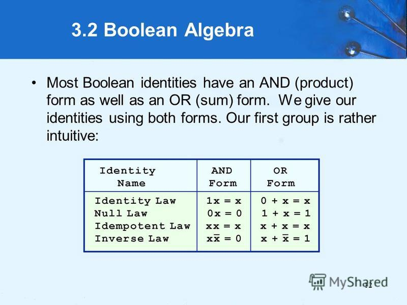 12 3.2 Boolean Algebra Most Boolean identities have an AND (product) form as well as an OR (sum) form. We give our identities using both forms. Our first group is rather intuitive: