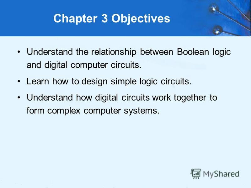 2 Chapter 3 Objectives Understand the relationship between Boolean logic and digital computer circuits. Learn how to design simple logic circuits. Understand how digital circuits work together to form complex computer systems.