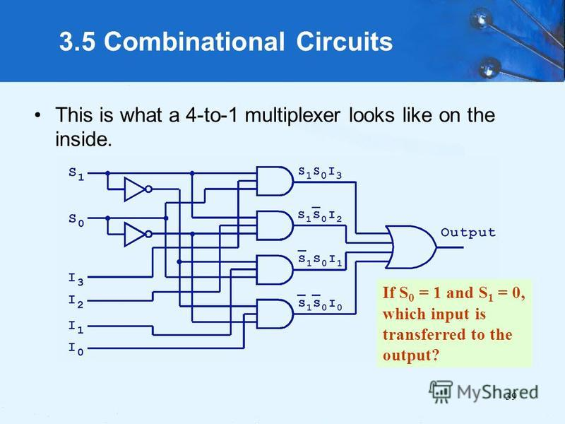39 3.5 Combinational Circuits This is what a 4-to-1 multiplexer looks like on the inside. If S 0 = 1 and S 1 = 0, which input is transferred to the output?