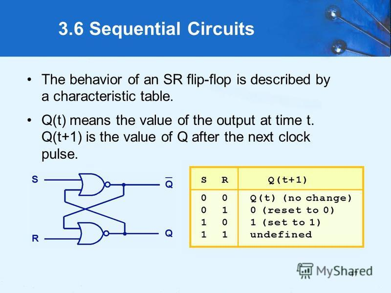 47 3.6 Sequential Circuits The behavior of an SR flip-flop is described by a characteristic table. Q(t) means the value of the output at time t. Q(t+1) is the value of Q after the next clock pulse.