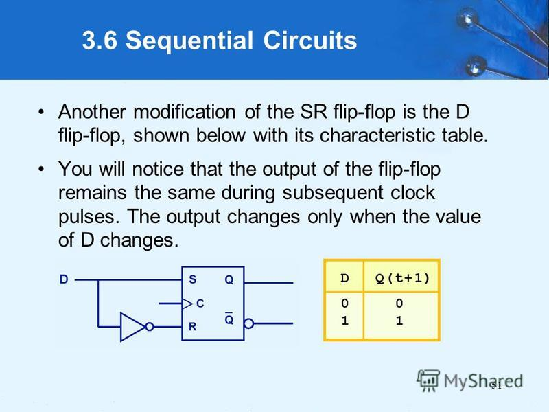 51 3.6 Sequential Circuits Another modification of the SR flip-flop is the D flip-flop, shown below with its characteristic table. You will notice that the output of the flip-flop remains the same during subsequent clock pulses. The output changes on