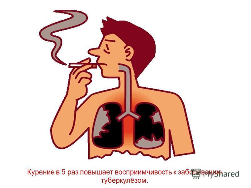 Курение в 5 раз повышает восприимчивость к заболеванию туберкулёзом.