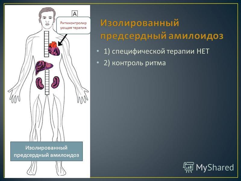 1) специфической терапии НЕТ 2) контроль ритма Изолированный предсердный амилоидоз Ритмконтролир ующая терапия