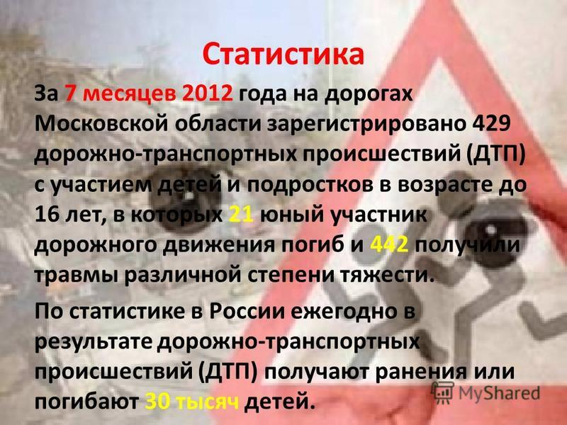 Статистика За 7 месяцев 2012 года на дорогах Московской области зарегистрировано 429 дорожно-транспортных происшествий (ДТП) с участием детей и подростков в возрасте до 16 лет, в которых 21 юный участник дорожного движения погиб и 442 получили травмы