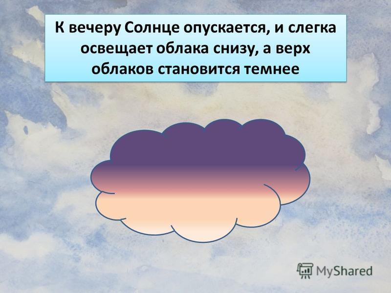 К вечеру Солнце опускается, и слегка освещает облака снизу, а верх облаков становится темнее